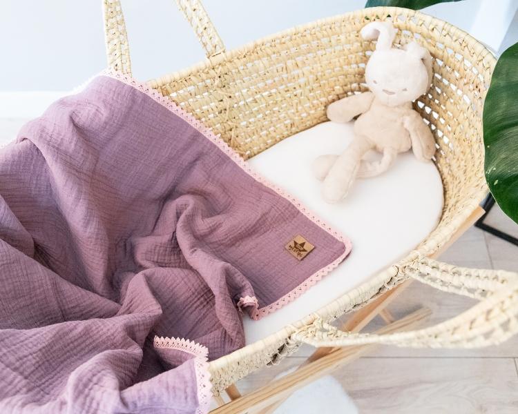 Baby Nellys Luxusní dvouvrstvá mušelínová dětská deka, 75 x 100 cm, lila, fialová