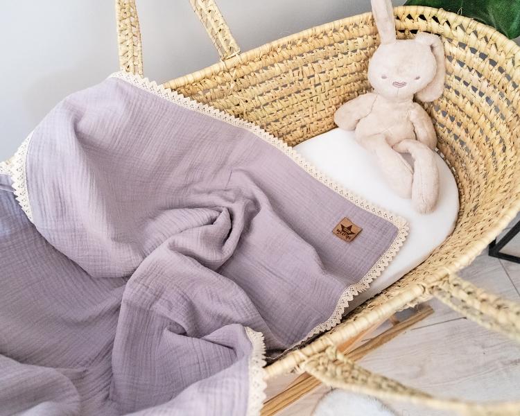 Baby Nellys Luxusní dvouvrstvá mušelínová dětská deka, 75 x 100 cm, šedá