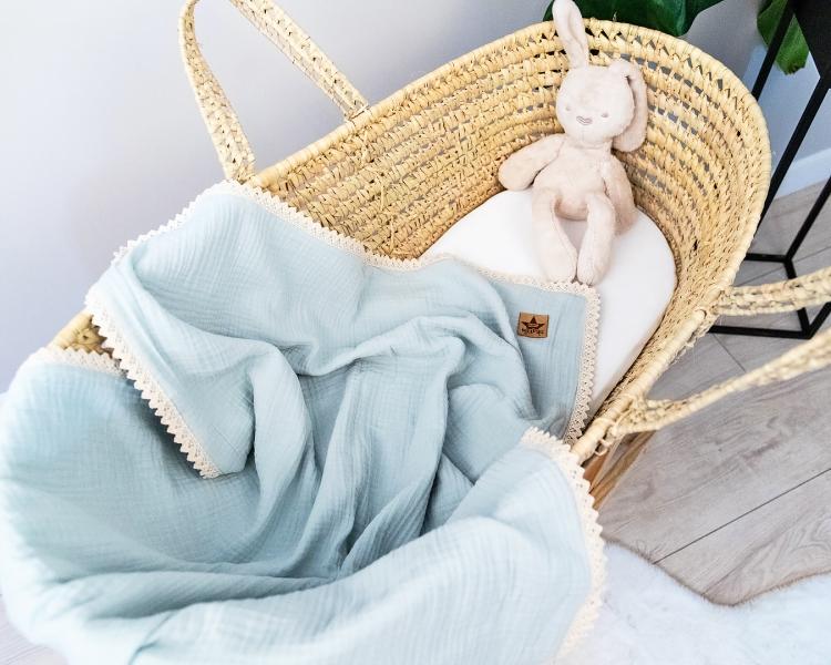 Baby Nellys Luxusní dvouvrstvá mušelínová dětská deka, 75 x 100 cm, světle modrá, mátová