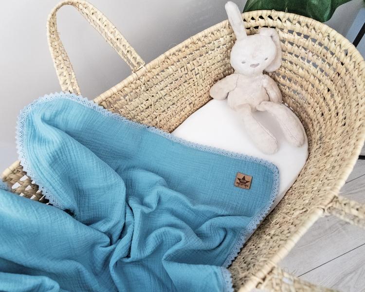Baby Nellys Luxusní dvouvrstvá mušelínová dětská deka, 75 x 100 cm, modrá