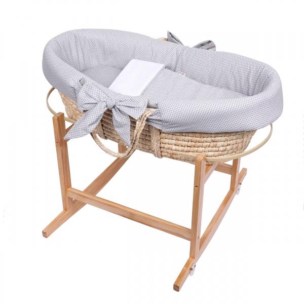 Baby Nellys Koš Mojžíšův pro miminko s výbavou, se stojanem + matrace - šedý