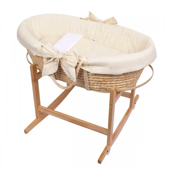 Baby Nellys Koš Mojžíšův pro miminko s výbavou, se stojanem + matrace - béžový