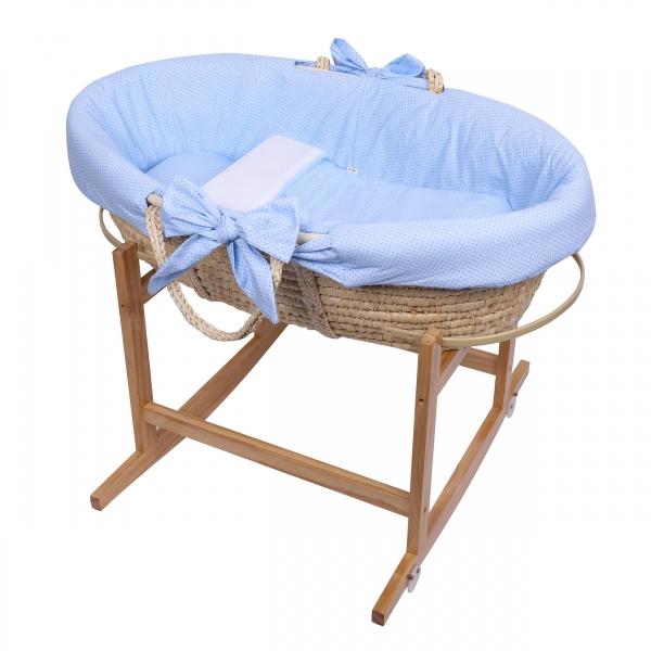 Baby Nellys Koš Mojžíšův pro miminko s výbavou, se stojanem + matrace - modrý