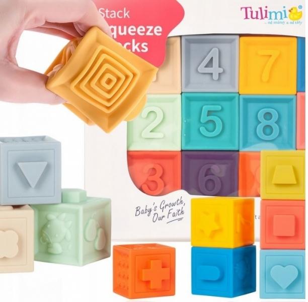 Tulimi Edukační barevné měkké kostky Čísla s pískatkem 12ks