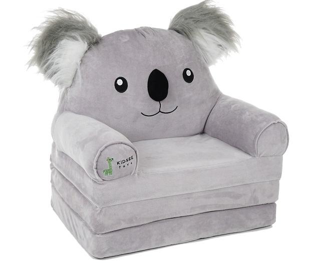 Baby Nellys Velké rozkládací plyšové křesílko 3v1 - Koala, šedá