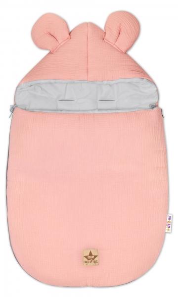 Baby Nellys Luxusní lehoučky mušelínový fusak, 90 x 50 cm, pudrový meruňková