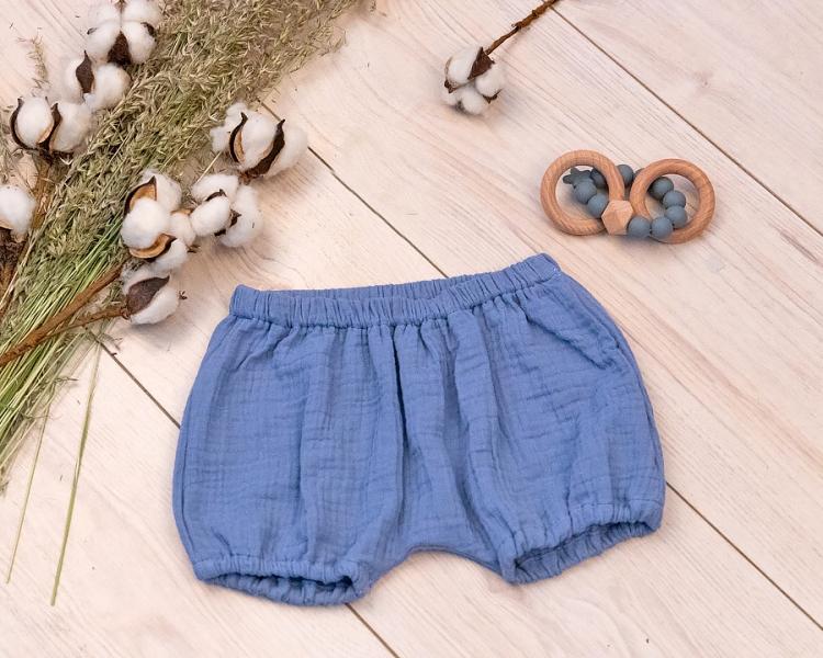 Baby Nellys Mušelínové letní kraťasky BOY - jeans, Velikost: 56/62