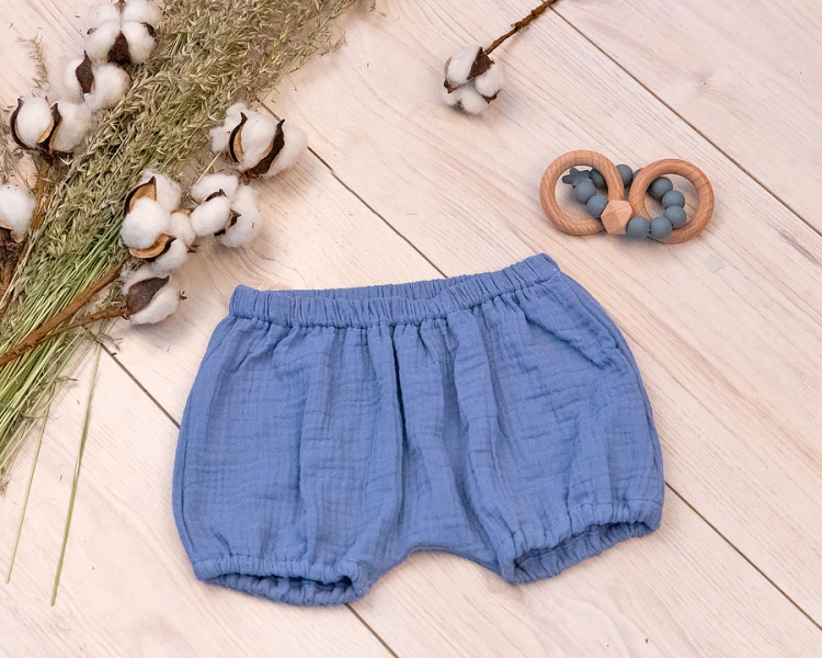 Baby Nellys Mušelínové letní kraťasky BOY - jeans, vel. 80/86