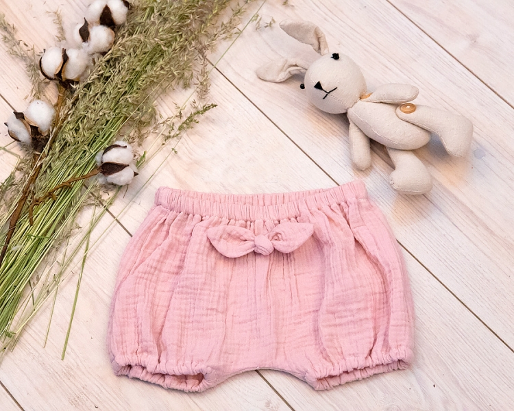 Baby Nellys Mušelínové letní kraťasky GIRL s mašličkou - pudrově růžová, vel. 92/98, Velikost: 92-98 (2-3 r)