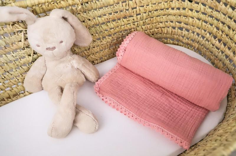 Baby Nellys Luxusní jednovrstvá mušelínová dětská deka, 75 x 100 cm, růžová