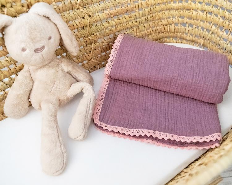 Baby Nellys Luxusní jednovrstvá mušelínová dětská deka, 75 x 100 cm, lila, fialová