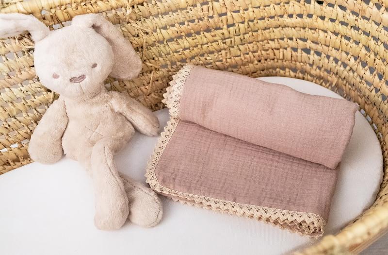 Baby Nellys Luxusní jednovrstvá mušelínová dětská deka, 75 x 100 cm,  cappuccino, béžová
