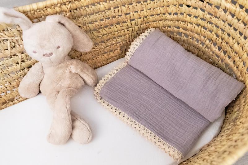 Baby Nellys Luxusní jednovrstvá mušelínová dětská deka, 75 x 100 cm, šedá