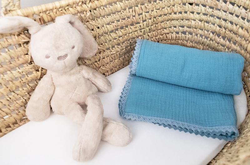 Baby Nellys Luxusní jednovrstvá mušelínová dětská deka, 75 x 100 cm, modrá