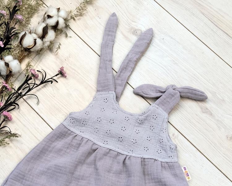 Baby Nellys Letní lehoučké mušelínové šaty Summer - šedé, vel. 68/74