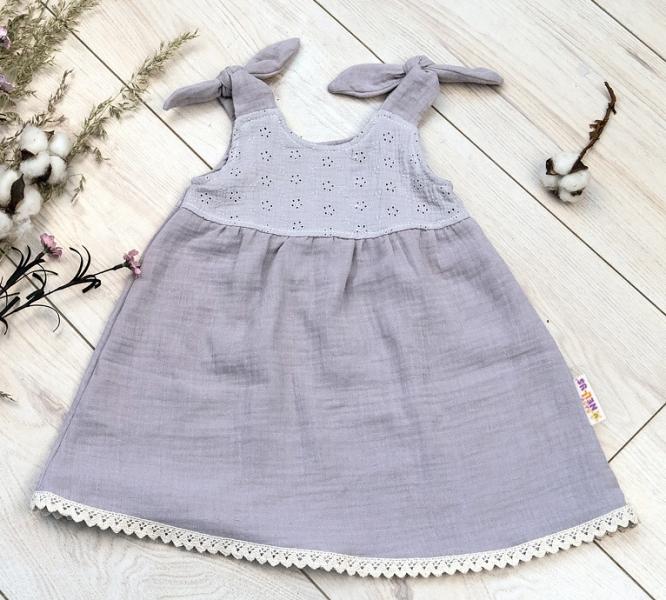 Baby Nellys Letní lehoučké mušelínové šaty Summer - šedé, vel. 80/86