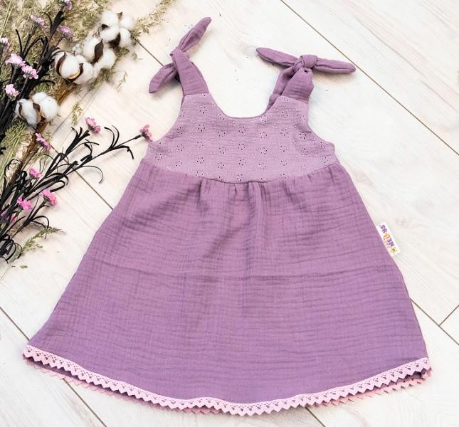Baby Nellys Letní lehoučké mušelínové šaty Summer - lila, levandule, vel. 80/86