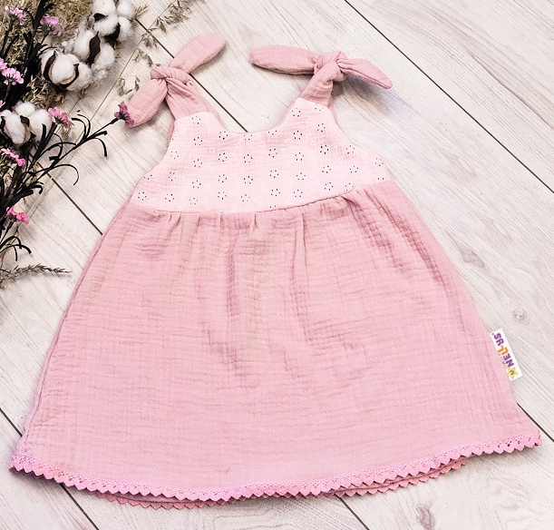 Baby Nellys Letní lehoučké mušelínové šaty Summer - pudrová, meruňková, vel. 92/98, Velikost: 92-98 (2-3 r)