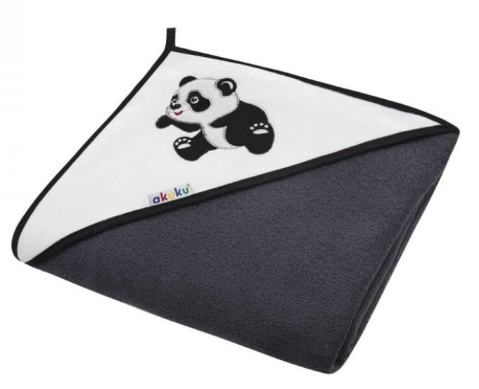 Akuku Dětská osuška s kapucí 100x100cm, froté - Panda, černá