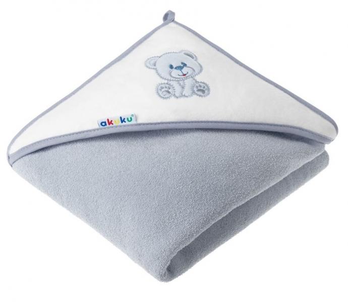 Akuku Dětská osuška s kapucí 100x100cm, froté - Medvídek, šedá
