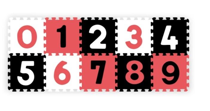 BabyOno Pěnové puzzle - Čísla, 10ks, černá/červená/bílá