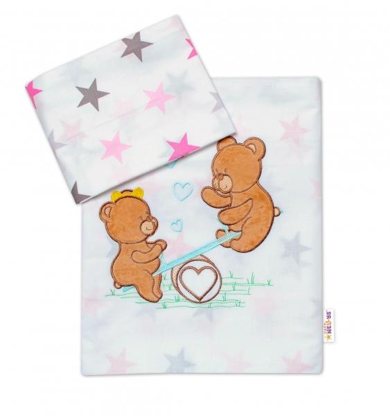 Baby Nellys 2-dílná sada povlečení do postýlky, dívčí barvy, různé výšivky