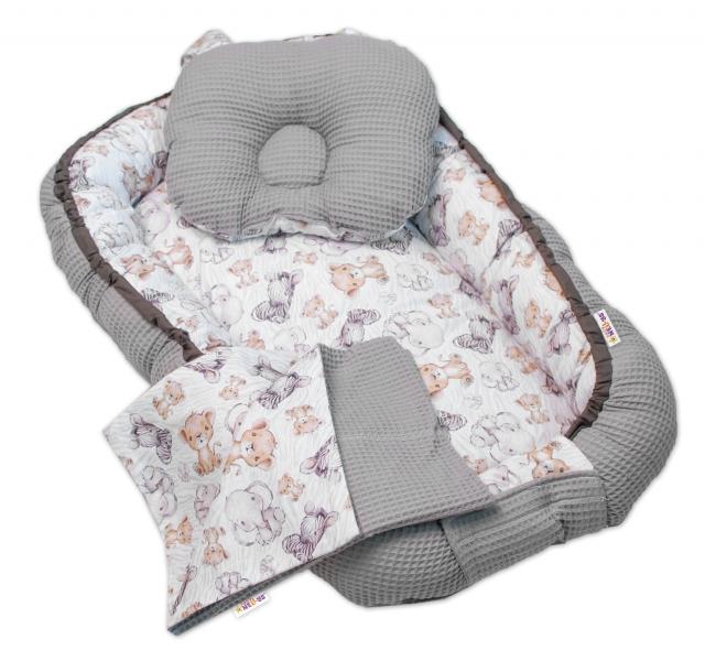 Baby Nellys Sada komplet oboustr. hnízdečko Vafel, 60 x 90 cm - Safari, šedý