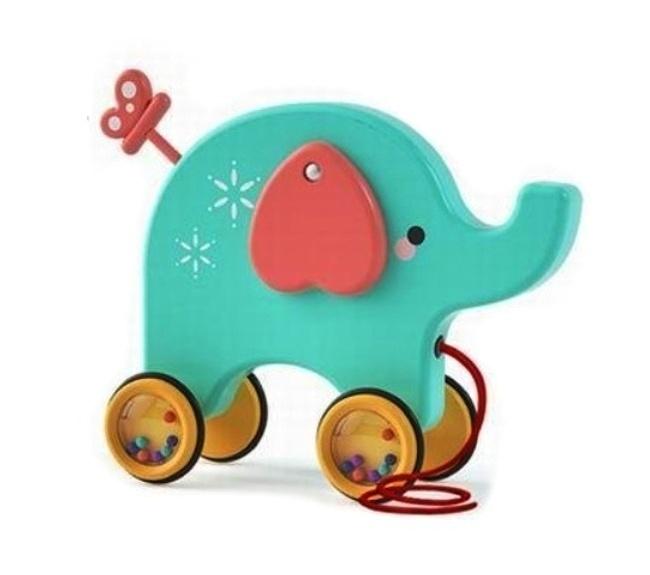 Tulimi Edukační hračka, tahací Sloník - tyrkysový