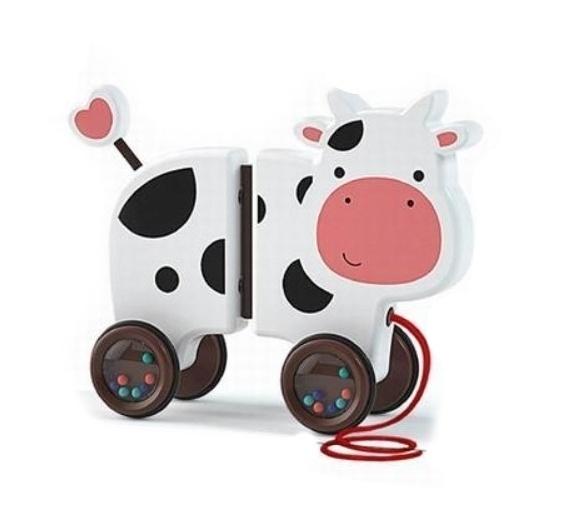 Tulimi Edukační hračka, tahací Kravička - bílá