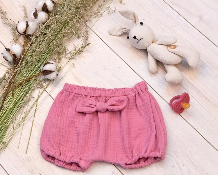 Baby Nellys Mušelínové letní kraťasky GIRL s mašličkou, růžové, vel. 80/86