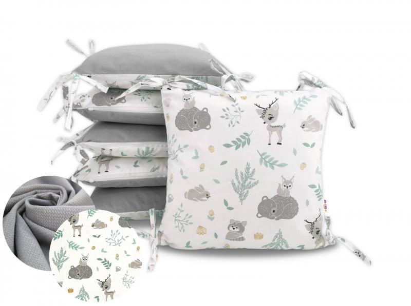 Baby Nellys Bavlněný polštářkový mantinel, Lesní zvířátka - šedý