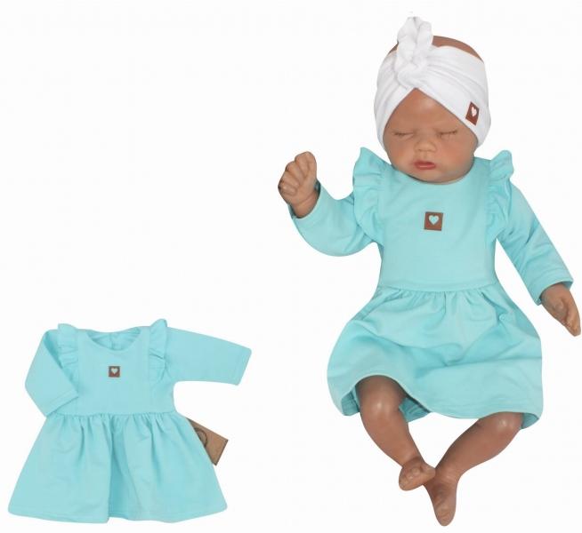 Z&Z Dětské teplákové šatičky/tunika Princess - tyrkys