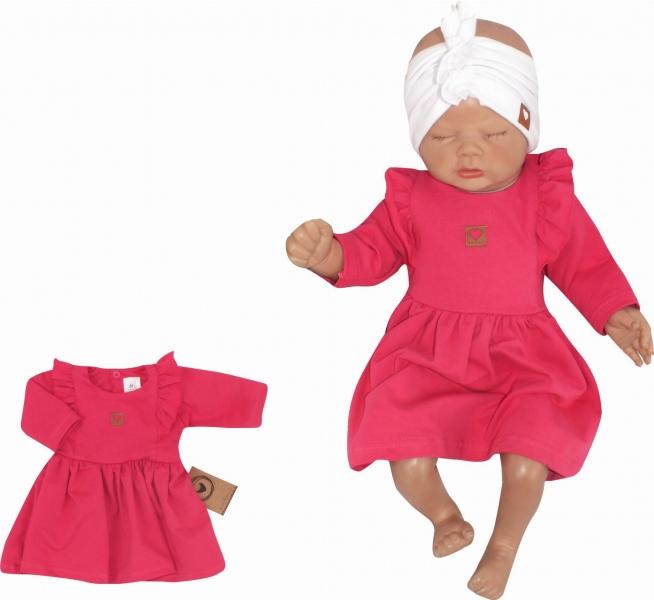Z&Z Dětské teplákové šatičky/tunika Princess - amarantové, vel. 80