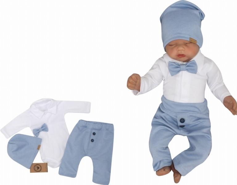 Z&Z 4-dílná sada Elegant Boy, body, kalhoty, motýlek a čepice, modrá/bílá