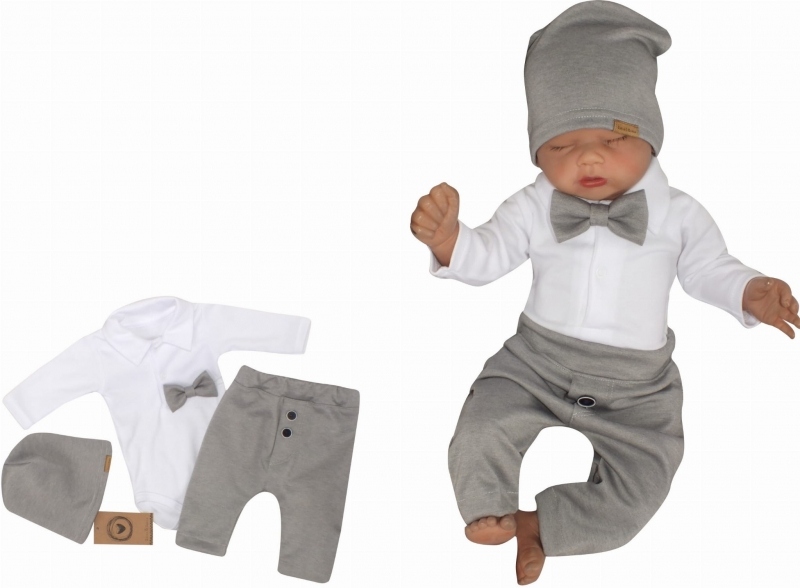Z&Z 4-dílná sada Elegant Boy, body, kalhoty, motýlek a čepice, šedá/bílá, vel. 86