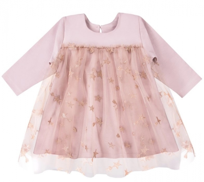 EEVI Dívčí šaty s týlem Ceremony Hvězdičky - pudrové