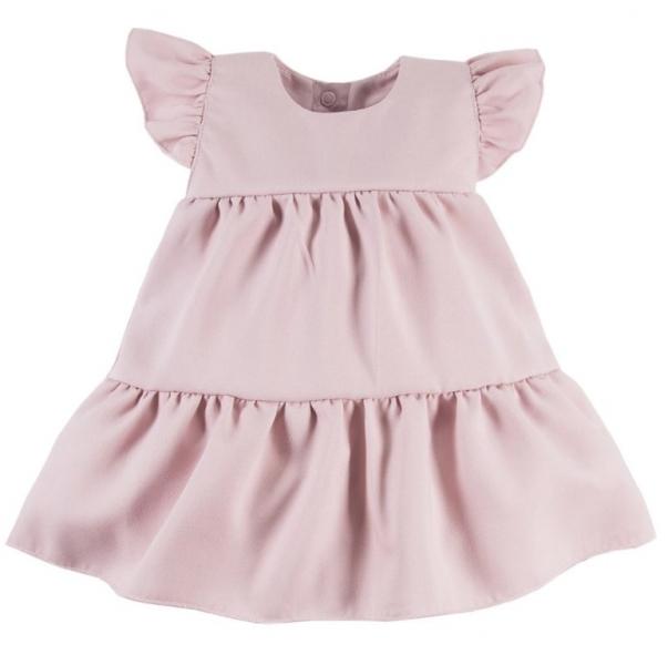 EEVI Dívčí šaty s volánky Nature - pudrové, vel. 86