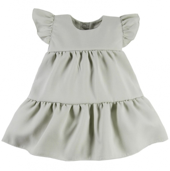 EEVI Dívčí šaty s volánky Nature - khaki