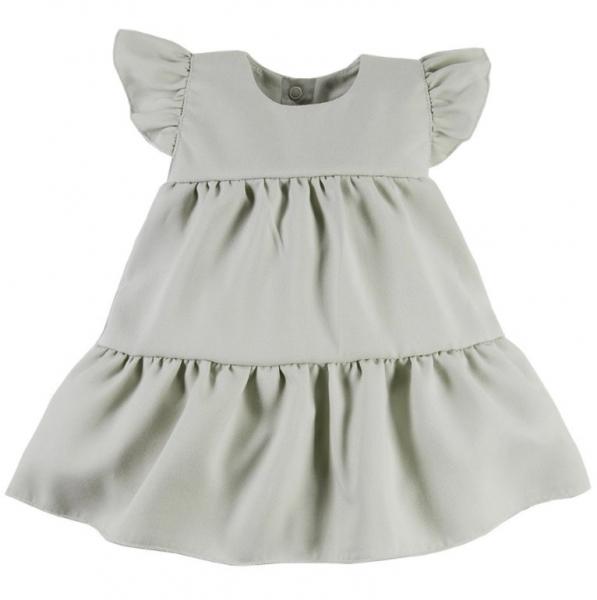 EEVI Dívčí šaty s volánky Nature - khaki, vel. 80