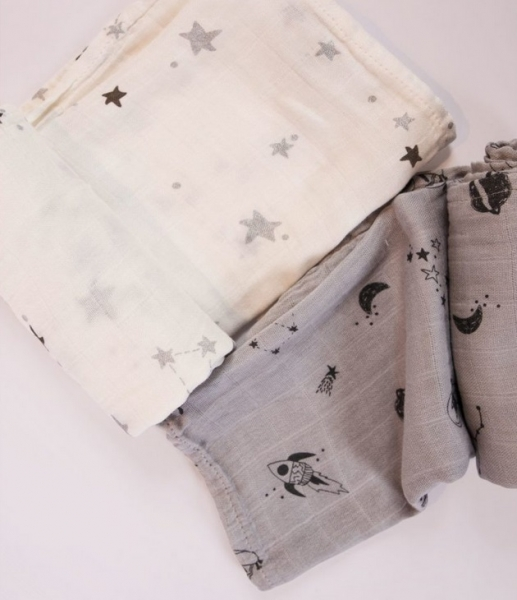 Minene Sada látkových plenek bambus/mušelín - bílá, šedá