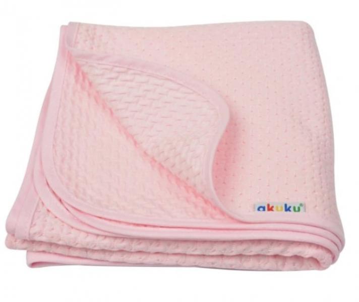 Akuku Dětská bavlněná deka,  80x90 cm, růžová
