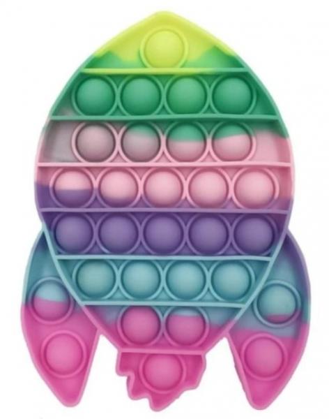 Pop It - Praskající bubliny, silikonová, antistresová spol. hra, Raketa