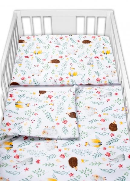 Baby Nellys 2-dílné bavlněné povlečení - Kamarádi louky, bílá