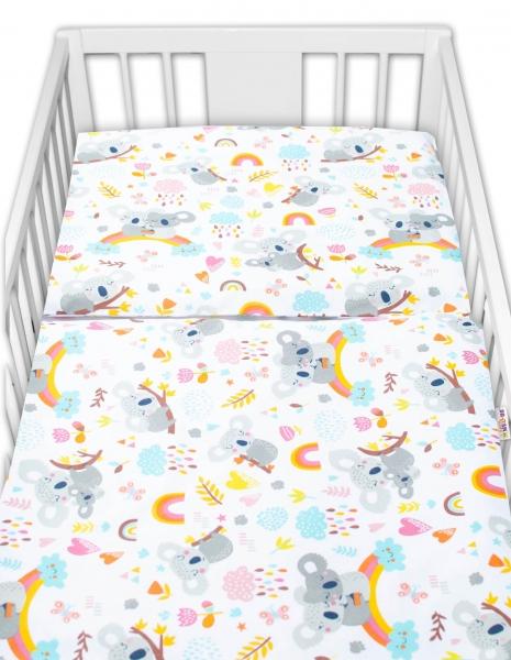 Baby Nellys 2-dílné bavlněné povlečení - Koala a duha, bílá, 135x100