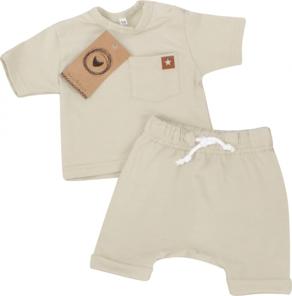 Z&Z 2-dílná sada tričko kr. rukáv, kraťásky s provázkem - olivová, vel. 74