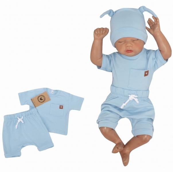 Z&Z 2-dílná sada tričko kr. rukáv, kraťásky s provázkem - modrá, vel. 74, Velikost: 74 (6-9m)