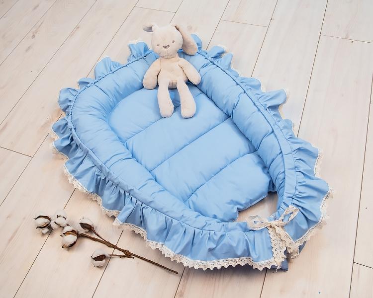 Baby Nellys Kojenecké hnízdečko, kokon Boho Style LUX, 60 x 90 cm - modré