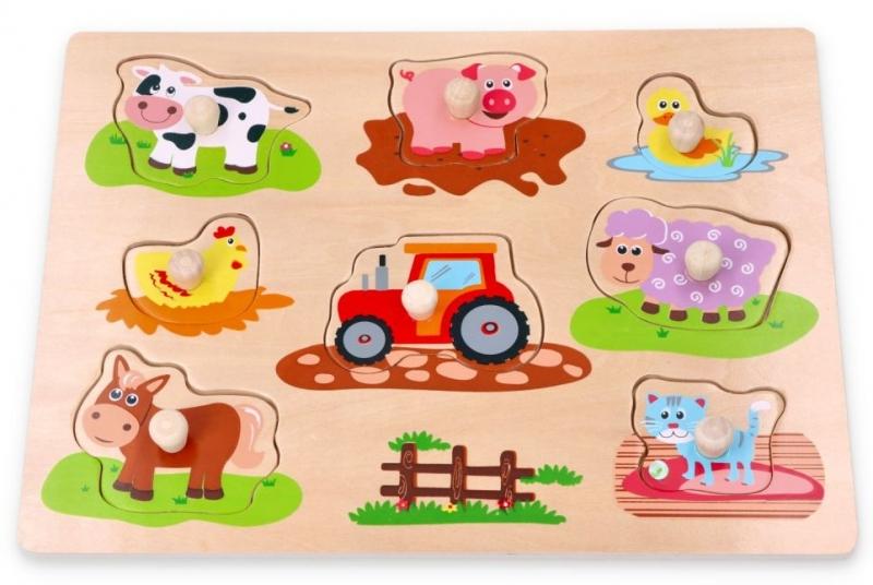 Lelin Edukační vkládačka, puzzle - Farma s traktorem