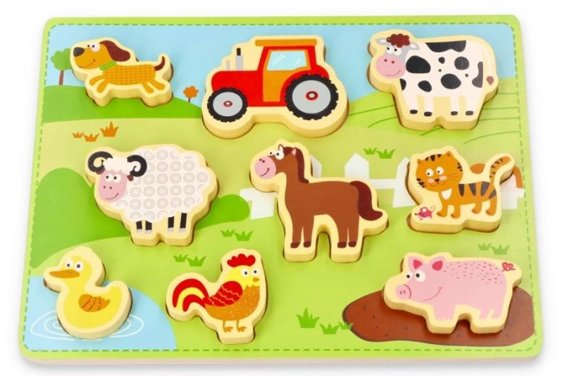 Lelin Edukační vkládačka, puzzle 3D- Farma