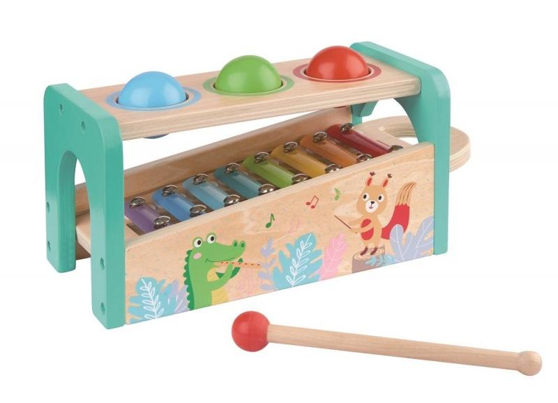 Lelin Dřevěná zatloukačka s xylofónem